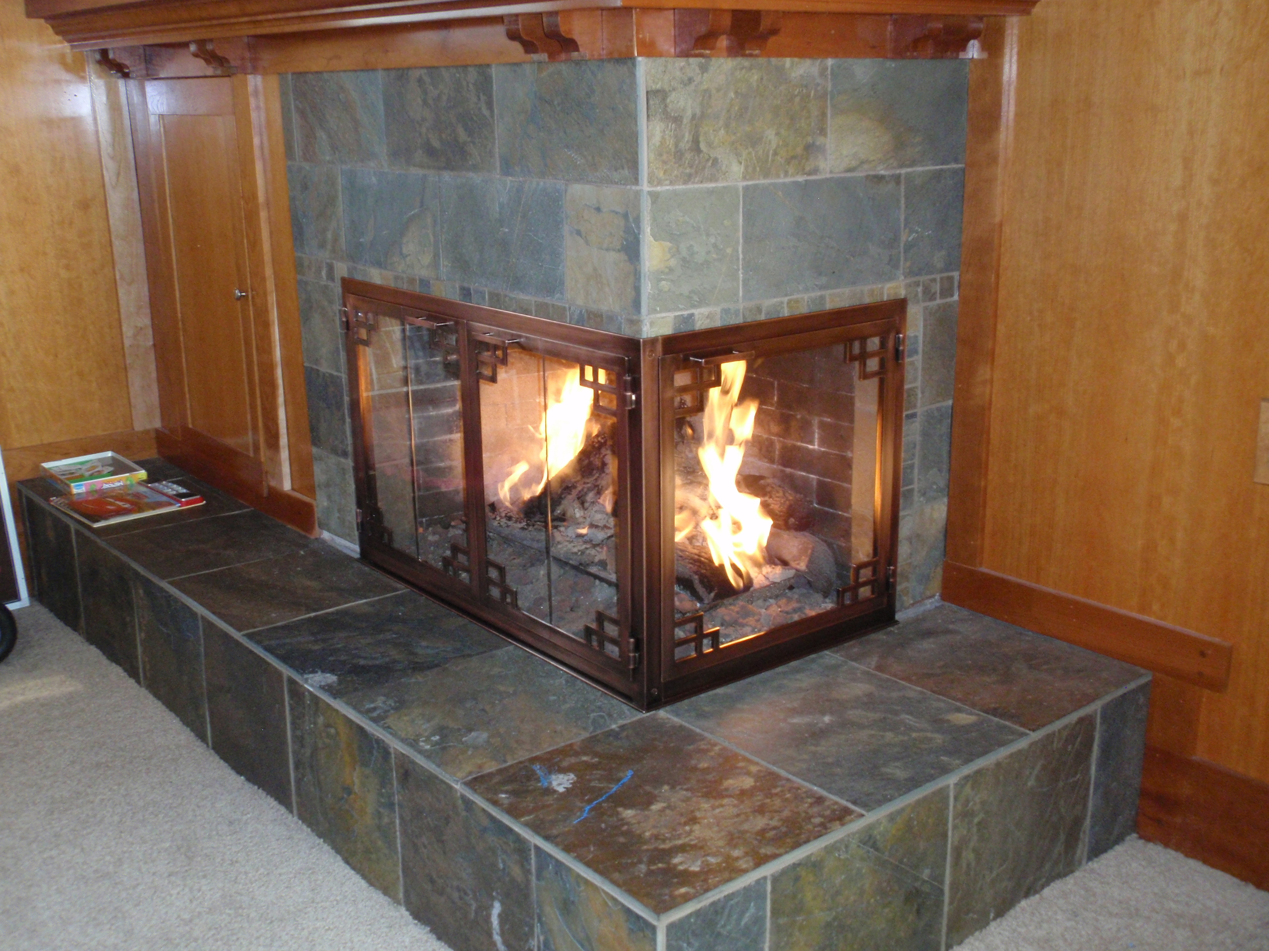 Superb Corner Fireplace Doors